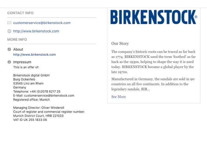 impressum examle fb birkenstock